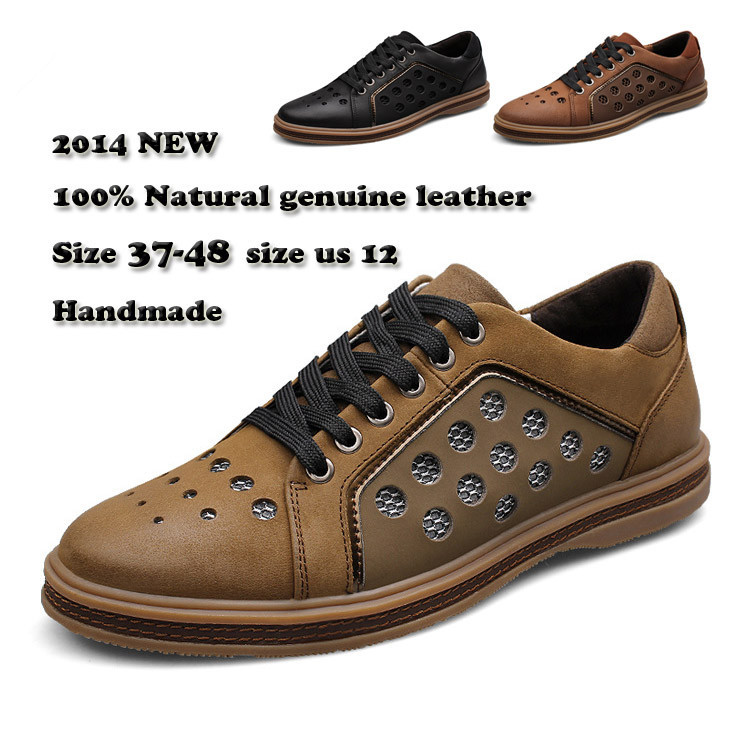 size 38-47 new 2014 genuine leather  breathable casual  shoes mens oxfords Loafers, sneakers for men flats shoes <br><br>Aliexpress