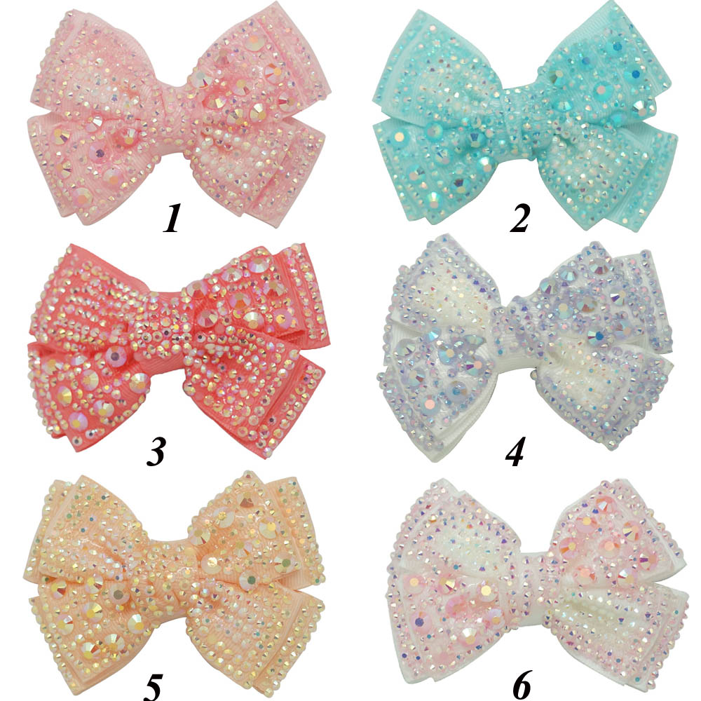 "Free Shipping 12 Pcs/lot 4"" Diamond Hair Bow For Kids,Baby Bling Hair Bow,Grosgrain Hair Bow Hair Clip CNHB-1404292(China (Mainland))"
