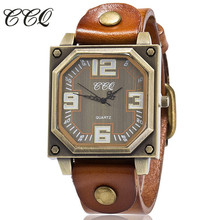 CCQ Brand Vintage Cow Leather Bracelet Watch Casual Women WristWatch Luxury Quartz Watch Relogio Feminino Gift Clock 1910