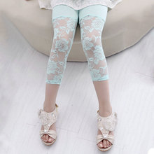 One Piece Colorful 3/4 Modal Cotton Floral Lace Korean Style Child Kid Baby Girl Pants Leggings(China (Mainland))