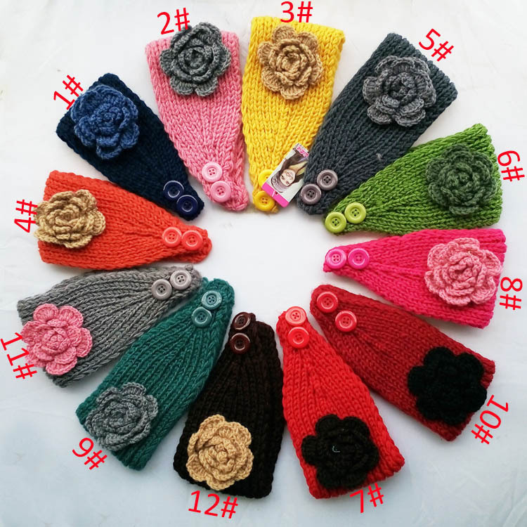 2014 New Multicolor candy colors Flower Women Knitted Headwrap Knitting wool crochet headband ear warmers for Girls Teens lady(China (Mainland))