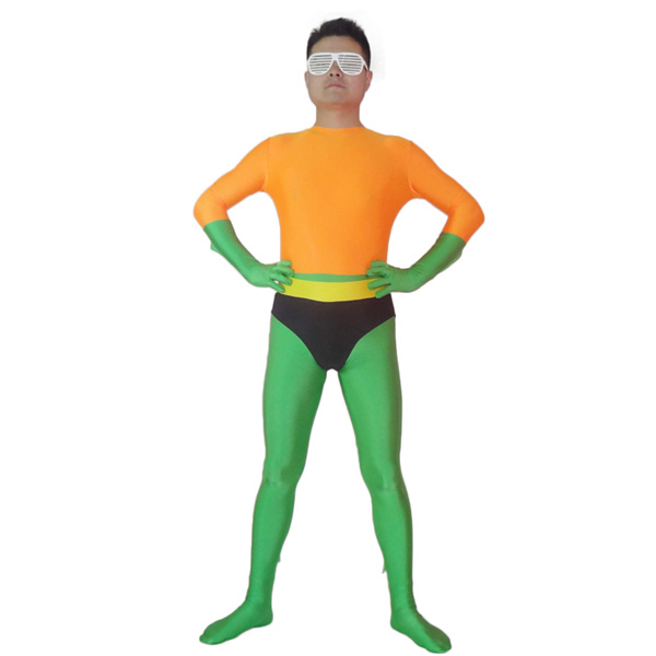 Aquaman Cosplay Costumes Party Zentai Suits Orange And Green Cheaper Theme Costumes Elastic Lycar Fabric Classic Design DCC40