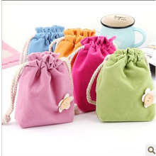 Candy color small piece of cloth travelling drawstring bag soft double-deck fabrics flocking bag(China (Mainland))