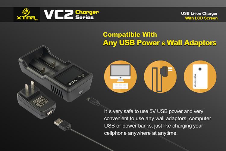 XTAR VC2 USB Universal Intelligent Digital LCD 2 Slots Battery Charger for Li-ion 18650 26650 DC5V 1A LD490(China (Mainland))