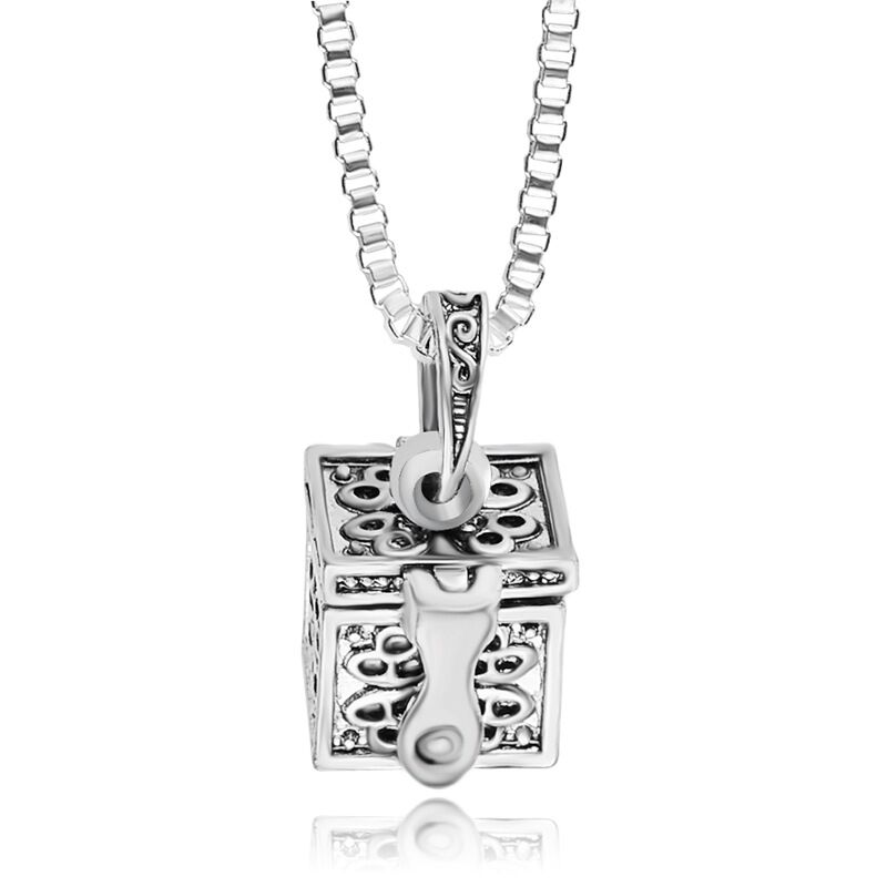 1pcs vintage alloy box can be opened To commemorate Loved ones Sweetheart pet You can carry Cinerary casket Box pendant necklace(China (Mainland))