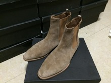 MID Model New design brand Classical chelsea Boot IN TAN SUEDE catwalk fashion casual yeezy west men shoes(China (Mainland))