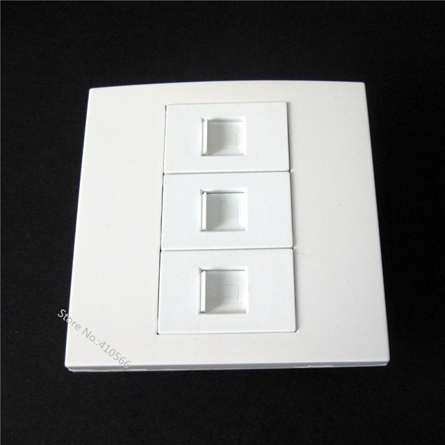 Durable Wall Panel 86x86mm White Socket With RJ45 Port x 3 For Internet Home Installation Using Good Price(China (Mainland))