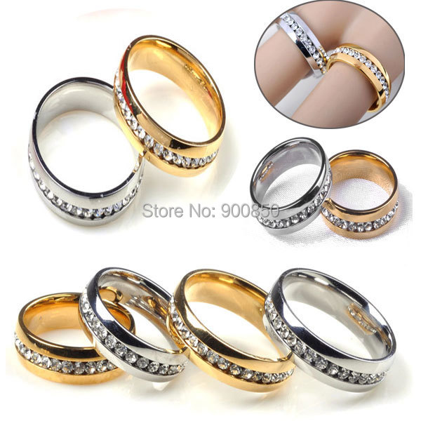 20Pcs/lot Trendy Men/Women Crystal Stainless Steel Rings Gold SIlver 316L Stainless Steel 1 Row Crystal Wedding Rings Engagement<br><br>Aliexpress