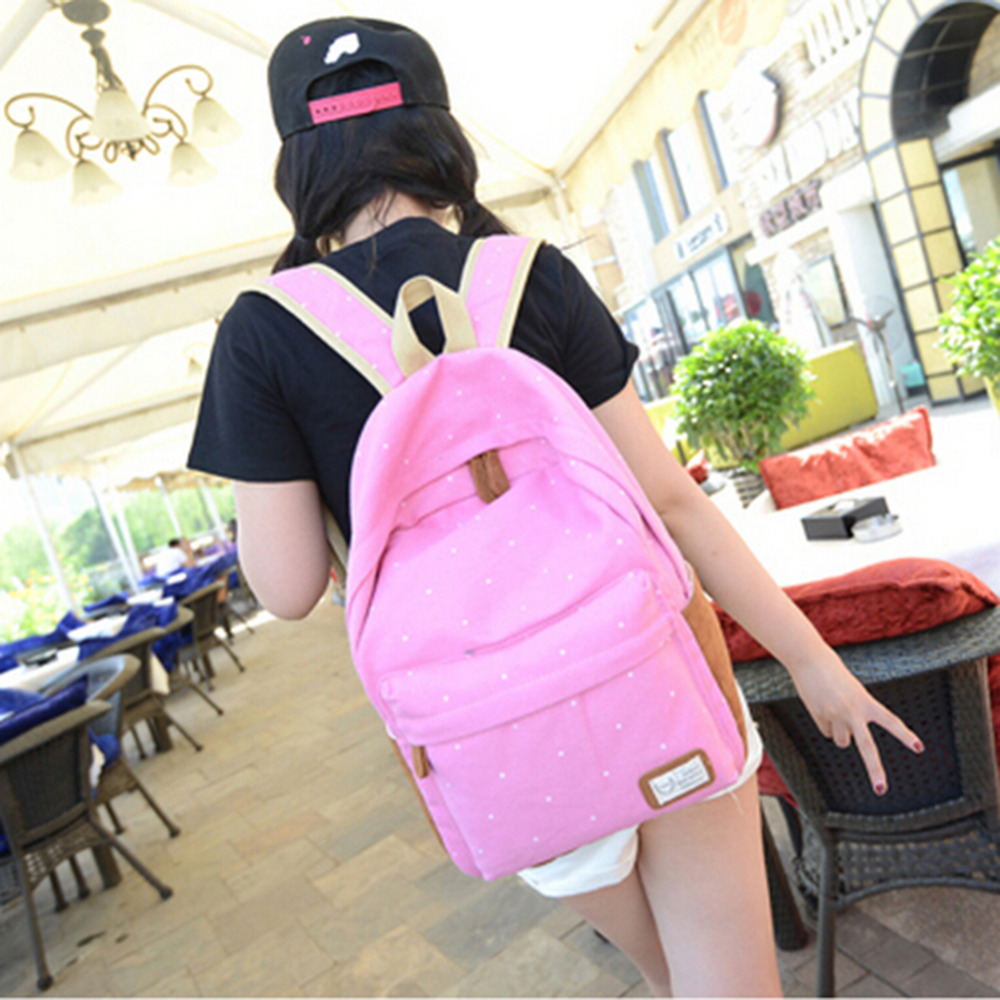 New 2015 casual canvas backpack women fashion school bags for girls dot printing backpack shoulder bags(China (Mainland))
