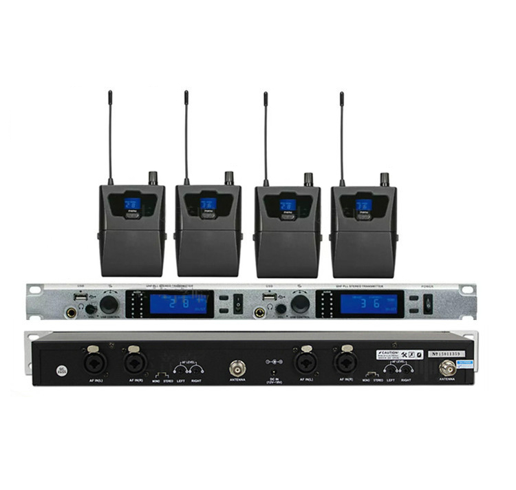 Work Monitoring System : Stereo receivers twin transmitter wireless in ear