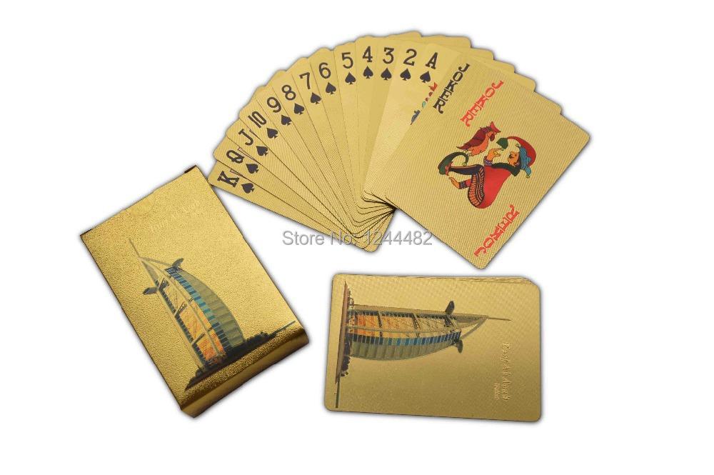Wholesale Burj al Arab Designed Gold Foil Playing Cards, Wholesale 24K Gold Poker Card Business Card Game Set(China (Mainland))