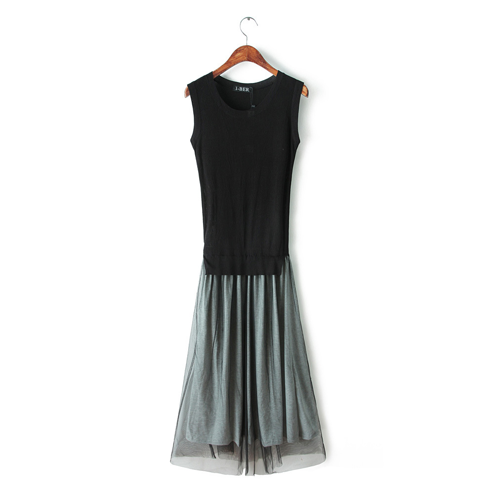 2015 spring Couture new sundress t mosaic mesh knit sleeveless long dress - Chic Classic Store store
