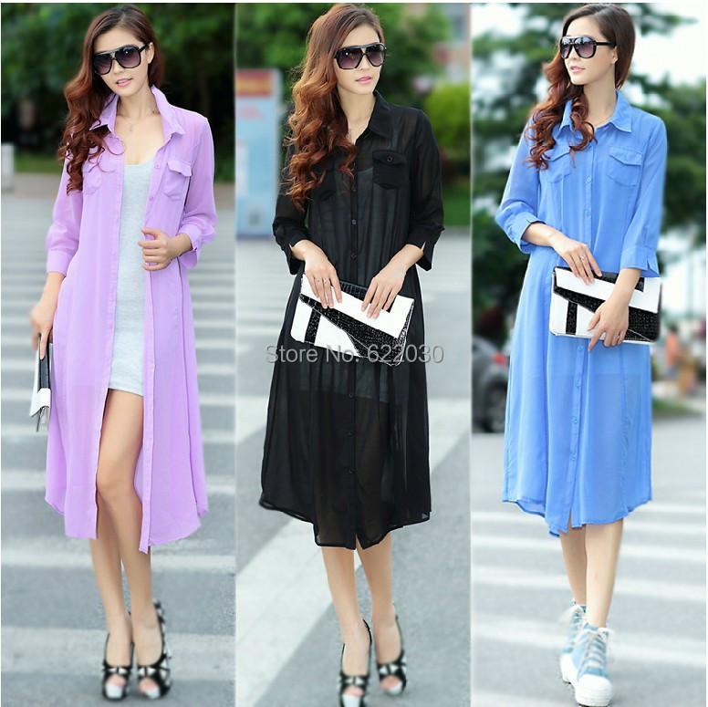 2014 Fashion summer women long cardigans coat mid-calf outwear clothing coats chiffon White, Purple, Black,Blue - BIG SIZE GARMENTS store