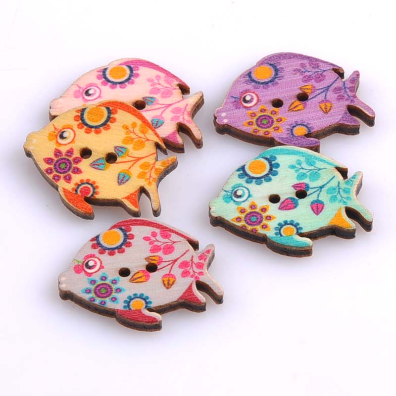Buy 100pcs 25x30mm cute fish painted for Decorative buttons for crafts