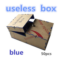 Free shipping 50pcs blue Useless Box Kit Leave Me Alone Box Great Geek Gift(Fully Assembled,DIY Version) funny Electric Toy(China (Mainland))