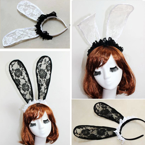 Wholesale 12pcs Lace Rabbit Ears Headband Sexy Lace Bunny Hairband Party Hair Accessories Hair Ornaments