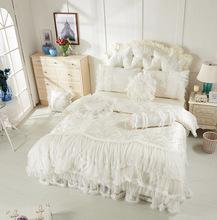 100% white lace cotton princess bed skirt set bedrug 100% cotton wedding bedding set,queen/king size korean princess style(China (Mainland))