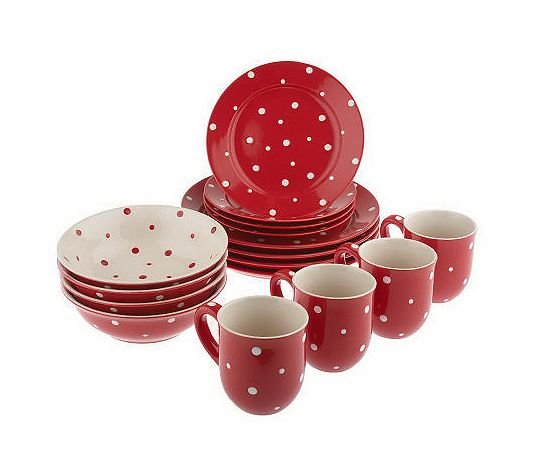 Red Polka Dot 16 Piece Dinnerware Service For 4-in