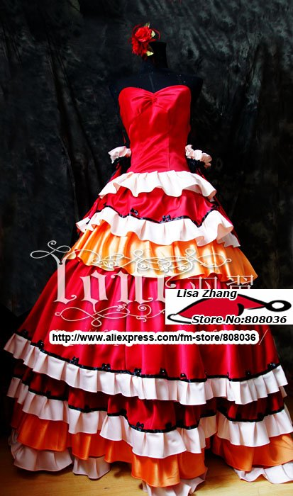 Freeshipping Christmas Halloween CODE GAESS Red long dress for party evening gothic lolita dress lady appearl costume(China (Mainland))