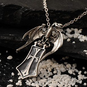 Free shipping gift bag wholesale alloy crystal fashion jewelry Gothic Guard Dragon Shield Cross sweater chain necklace 0091(China (Mainland))