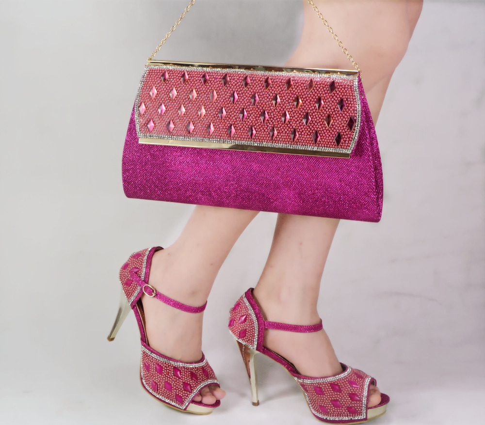 Fast selling African women shoes and bags set! good quality Italian shoes and matching bags for wedding!JY01 Fuchsia colour(China (Mainland))