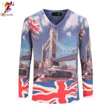 Man T shirt Fashion 2016 Spring long sleeve T-shirt V-neck 3d Motorcycle Eagle British flag Print Rock Tee shirt for men,M-XXXL