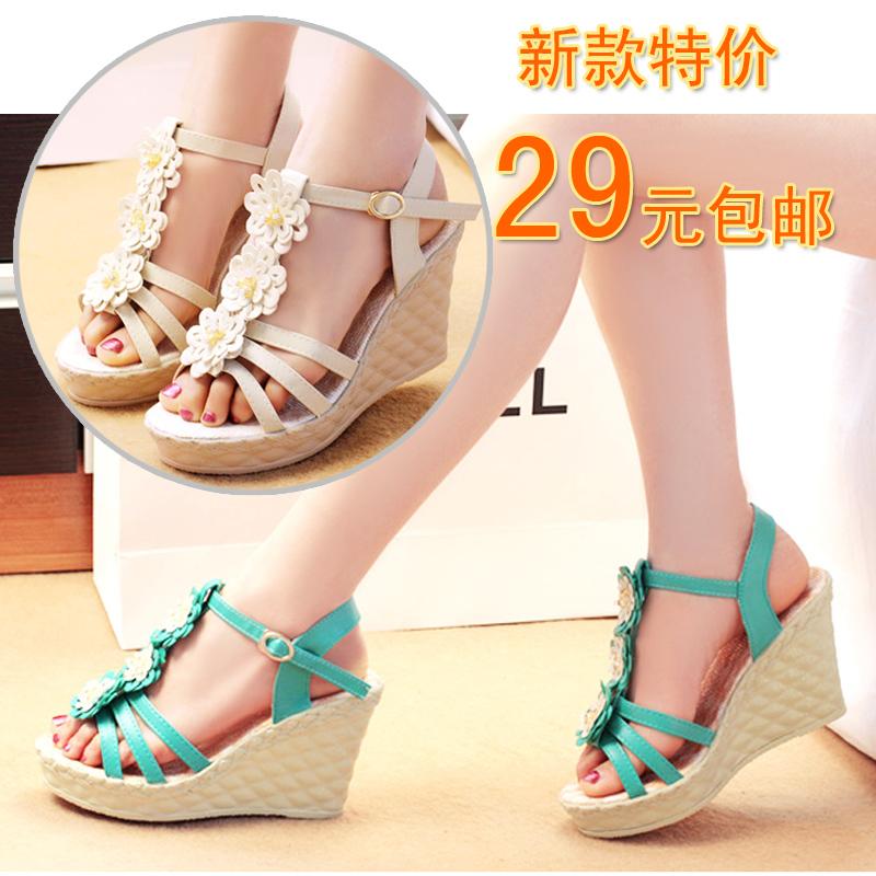 2014 wedges female sandals high-heeled platform flower beaded cross-strap open toe shoe - Guanlongkeji store