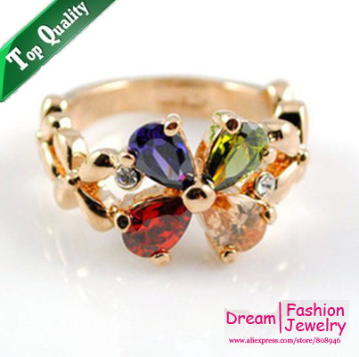 Hotselling Summer Multicolour Follower 18KGold Plated Fashion Ring Made with Genuine Austrian Crystals Full Sizes Wholesale,R004