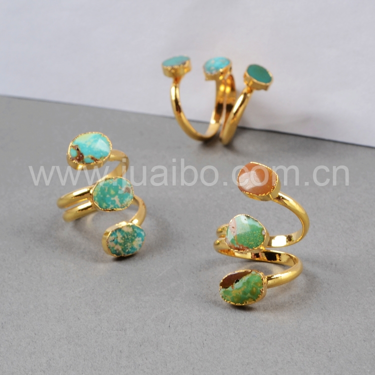 100% Natural Turquoise Ring Adjustable Gold Plated Three 100% Natural Turquoise Ring Fashion Druzy G0280(China (Mainland))