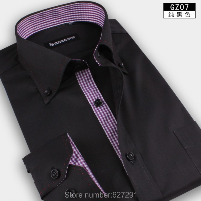 Purple-Free-Shipping-Mens-Shirts-Designer-Brand-Slim-Fit-Shirt-For-Men-Business-Casual-long-sleeve-men