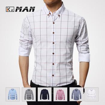 Мужчины полосатый тонкой клетчатую рубашку белый мода мужской досуг тонкий подходят ...