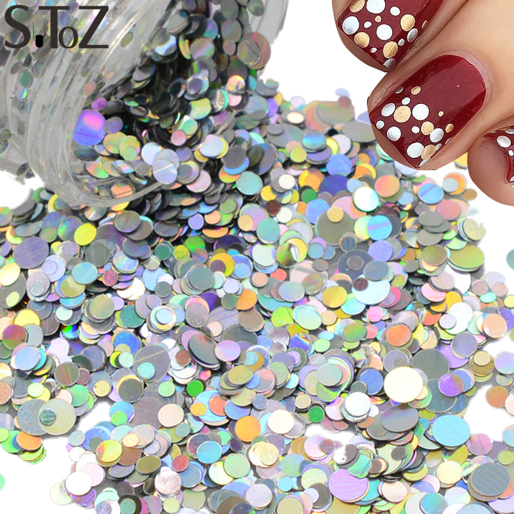 STZ Nail Art Decorations Laser Silver Dazzling Mixed 1/2/3mm Round Slice Paillettes Spangle 3d Nail Sticker Beauty Glitter P36(China (Mainland))