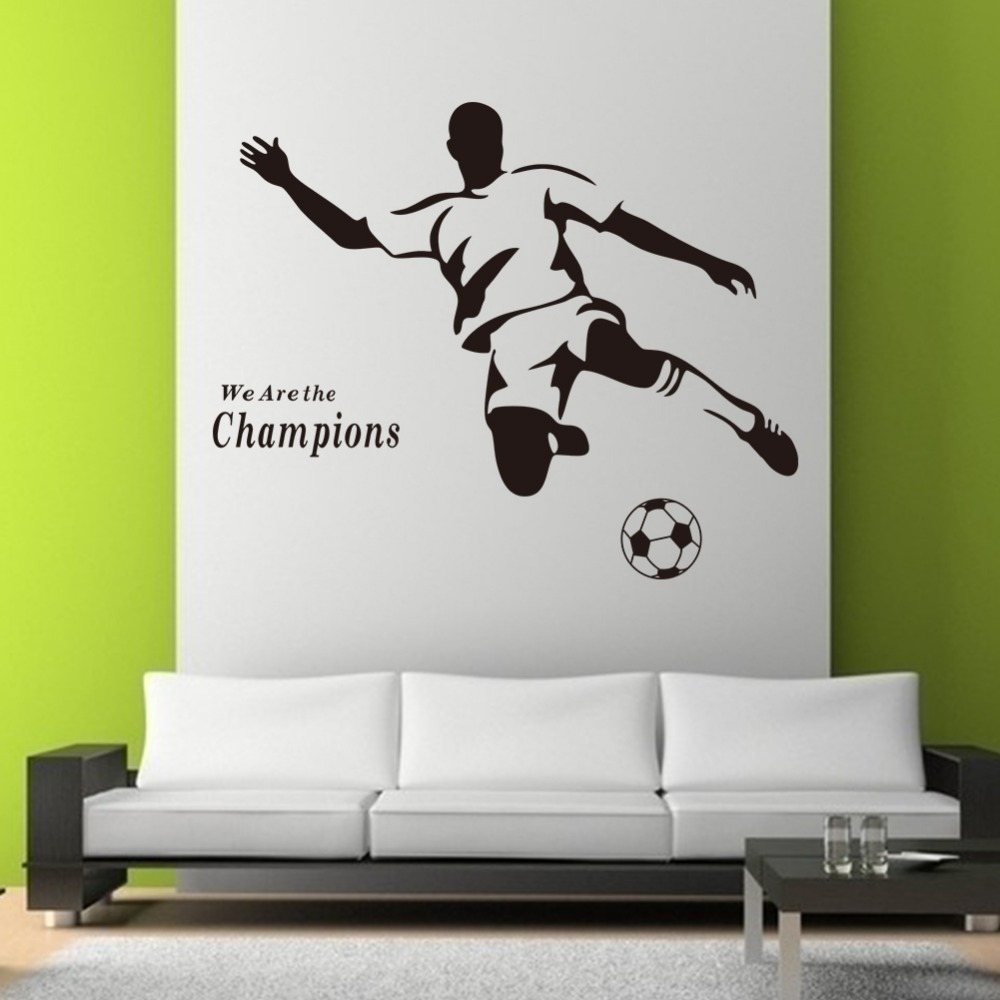 Free shipping new soccer champions pattern pvc removable for Stickers muraux