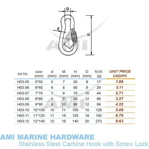 Крючок AMI 7 * 70 , Lock 316 ,   H03-07
