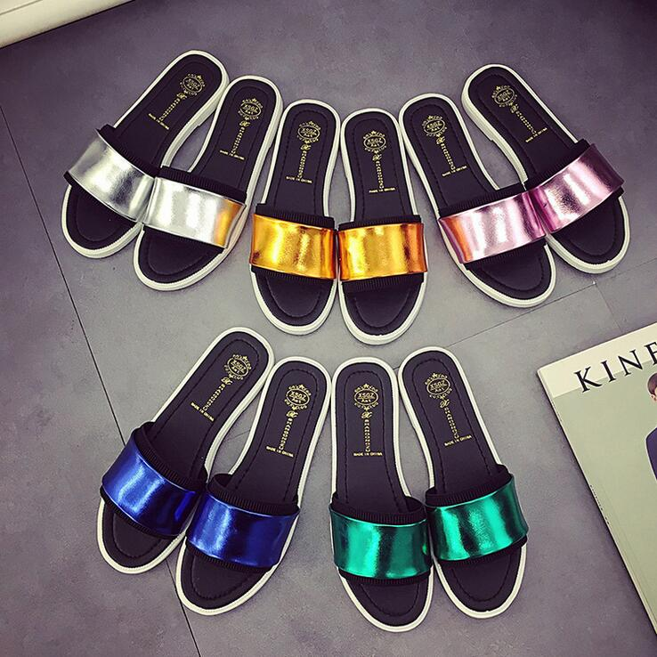 Women Sandals 2016 Ladies Summer Slippers Fashion Outdoor Beach Sandal PU Leather Flat Shoes Pantuflas mujer pantoufle femme(China (Mainland))