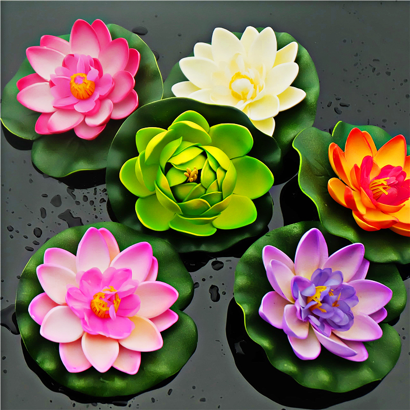 10 x Artificial PE Foam Lotus flowers Water Lily Floating Pool Plants Wedding Decoration(China (Mainland))