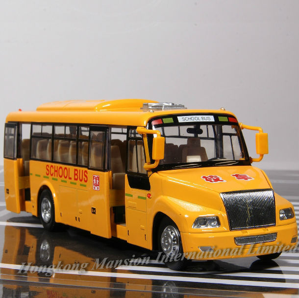 1:32 Scale Alloy Diecast Metal Car Model For BLUE BIRD School Bus Truck Collection Model Pull Back Toys With Sound&Light(China (Mainland))