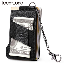 Buy teemzone RFID Blocking Fashion Men's Top Genuine Leather 8-13 Credit Card ID Holder Elasticity Money Clip Wallet Black K358 for $11.85 in AliExpress store