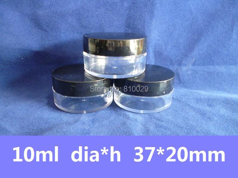 10 10g Black Cap Plastic Empty Clear Jar Cosmetics Container Lid Sample 10ml Cover - Glitpack International Co.,Ltd store