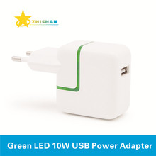 Green LED 10W USB Power Adapter for iPhone 4s 5s 6 Plus iPad Mini Air EU Euro Travel Charger for Samsung Mobile Phone and Tablet