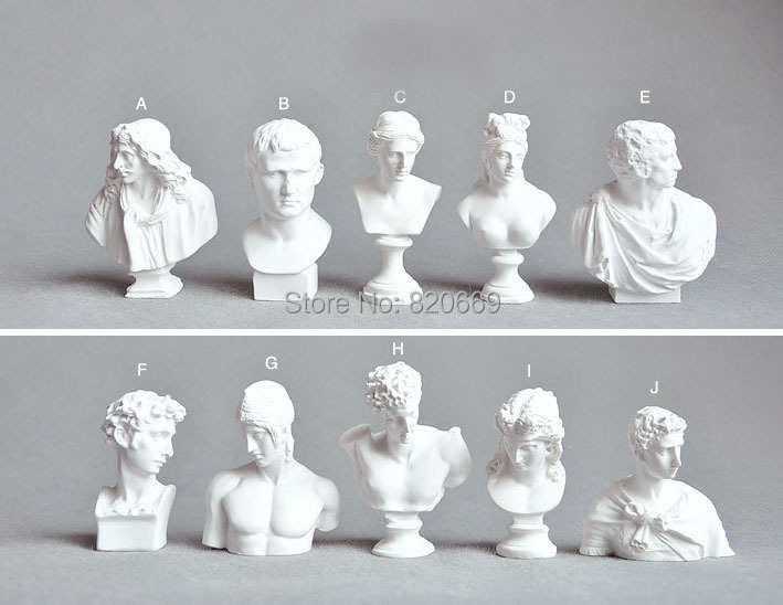 Promotion statue bust figure sketch mini action ABS 10pcs mix plaster figures wholesale hobbies artworks gift birthday presents(China (Mainland))