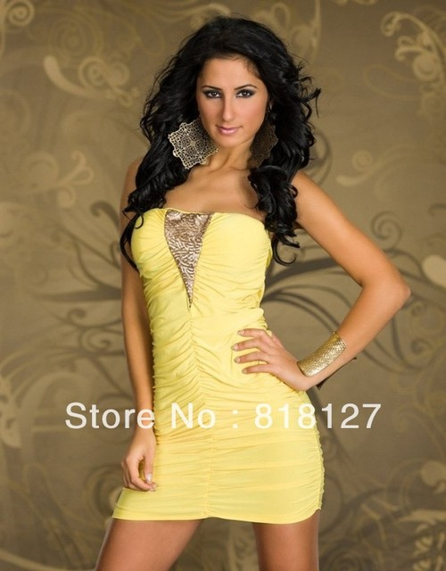 freeship XXL Fashion gold yellow 2013 sequins sexy sweet noble one piece short ruffles low cut tight Indian African style dress