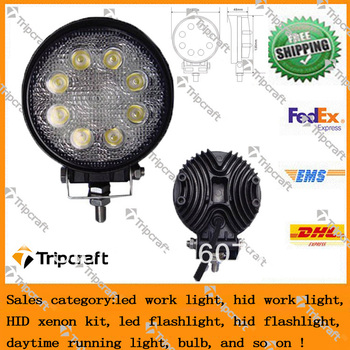 1pcs/lot 24W Led Work Light Tractor Lamp Fog Lamp mine lamp For SUV Truck Heavy Duty 4X4 UTV ATV
