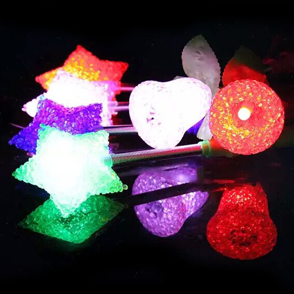 Randomly Send Kids Toys Flash Stick Rose lights Glow Stick Particles Spring Led Night Light Rose/Star/Heart Shape Party Props(China (Mainland))