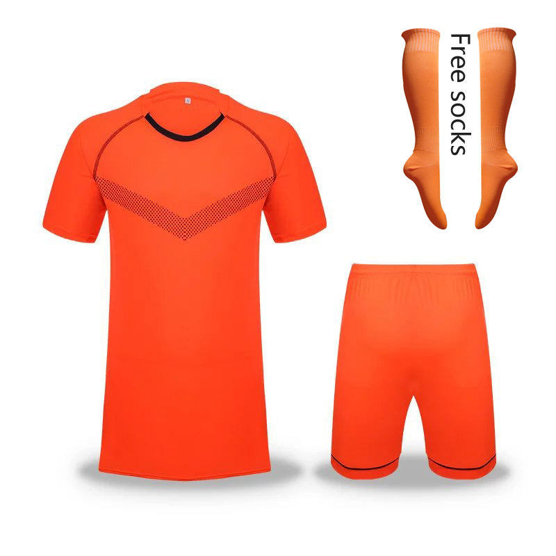 1 sets color Orange Men Sportswear kits football soccer sets short sleeve jersey Adult SQ186(China (Mainland))