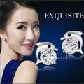 Free Shipping Korean Style Animal Stud Earring Zircon Brand Silver Dolphin 925 Silver Earrings For women