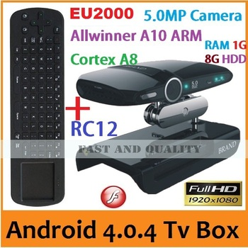 10pcs=5pcs RC12+5pcs EU2000 A10 Cortex A8 Android 4.0 TV Box Built-in 5.0MP Camera and MIC Skype HDMI 1080P RAM 1G/8G AV Output