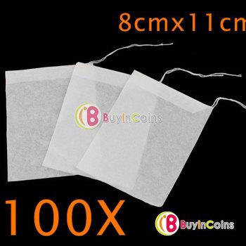 100PCS Disposable Loose Empty Clean String Heat Seal Filter Paper Tea Bag 8X11CM #9341