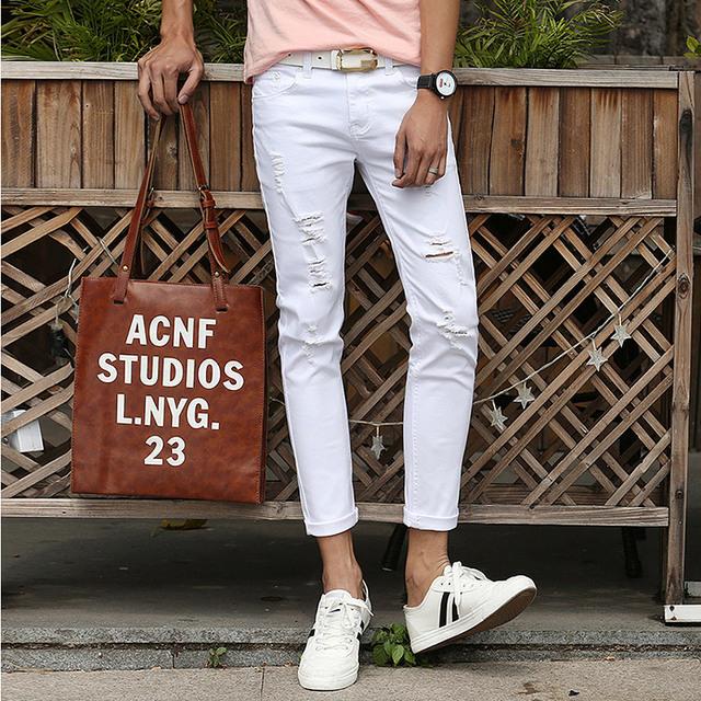 2016 весной и летом новый мужские джинсы штаны корейской стиль белый / черный тощий ...
