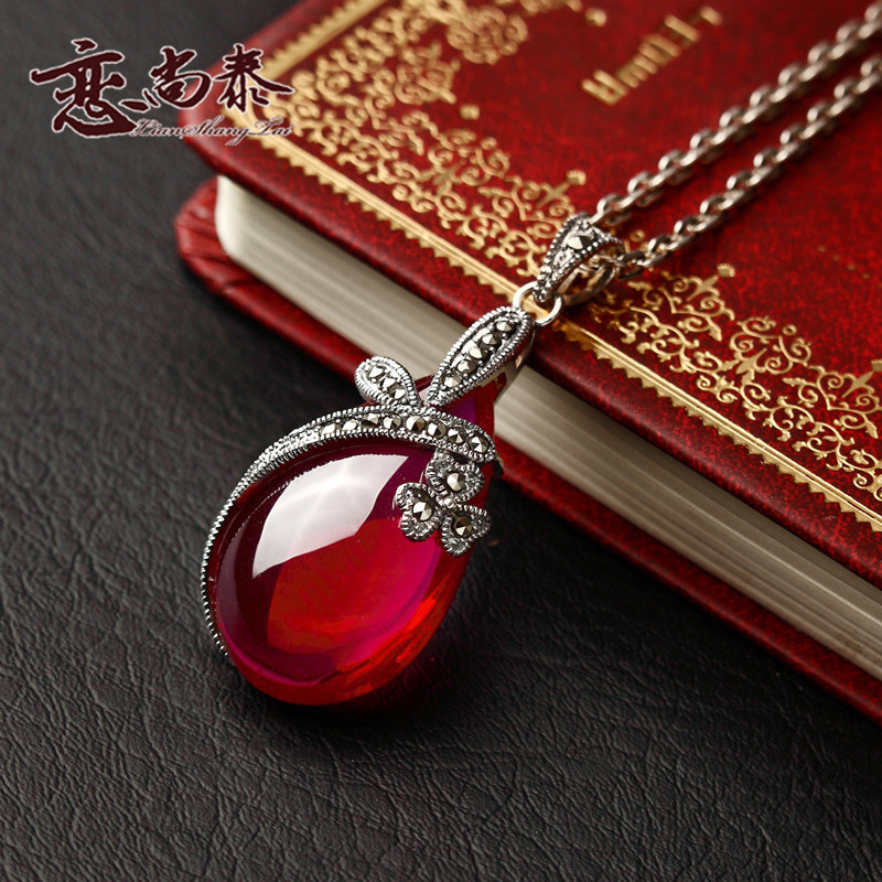 Matt 925 Sterling Silver Pendant red corundum retro fashion Korean Ladies Red Necklace Pendant NEW<br><br>Aliexpress